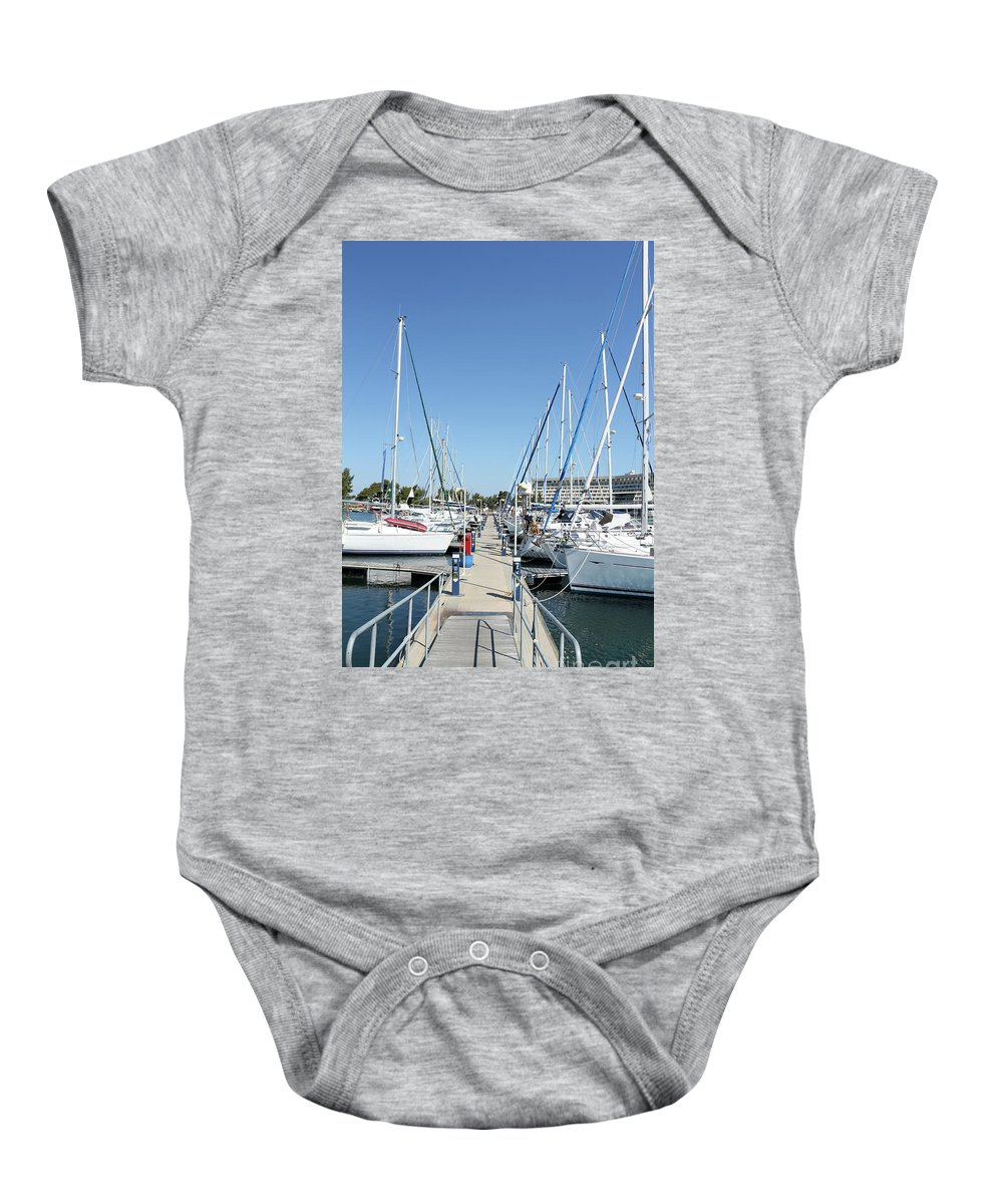 Yacht Baby Onesie featuring the photograph Port With Yacht by Goce Risteski