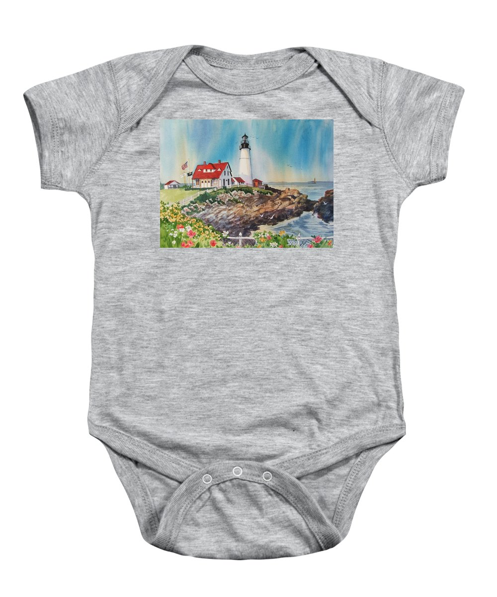 Portland Me Lighthouse Baby Onesie featuring the painting Portland Head Light by Dianna Willman