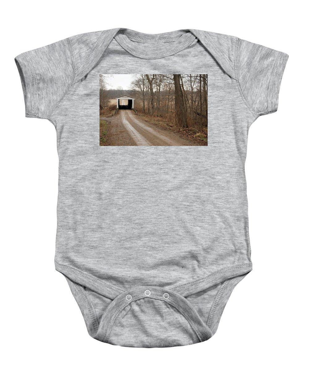 Bridge Baby Onesie featuring the photograph Portland Mills Covered Bridge by David Arment