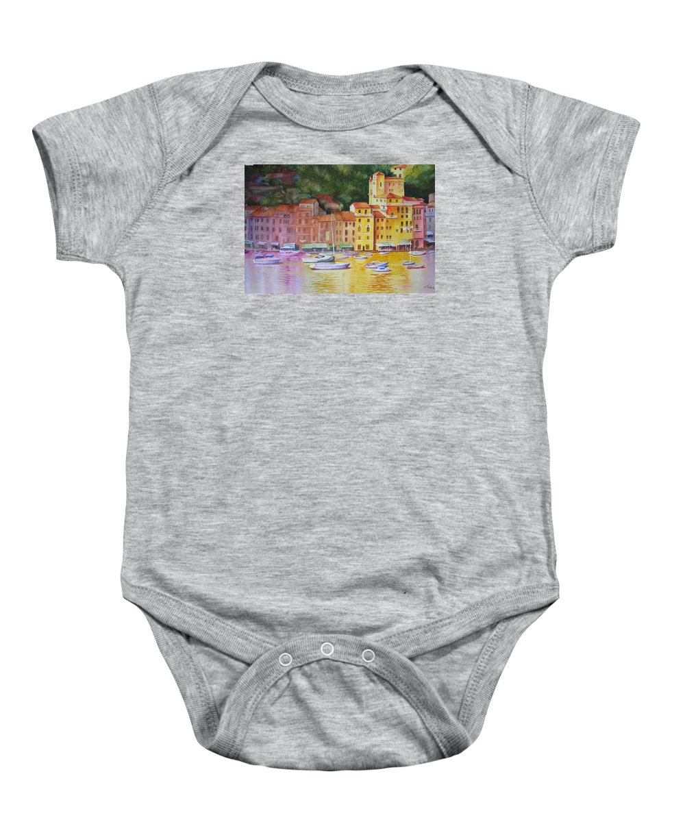Italy Baby Onesie featuring the painting Portofino Afternoon by Karen Stark
