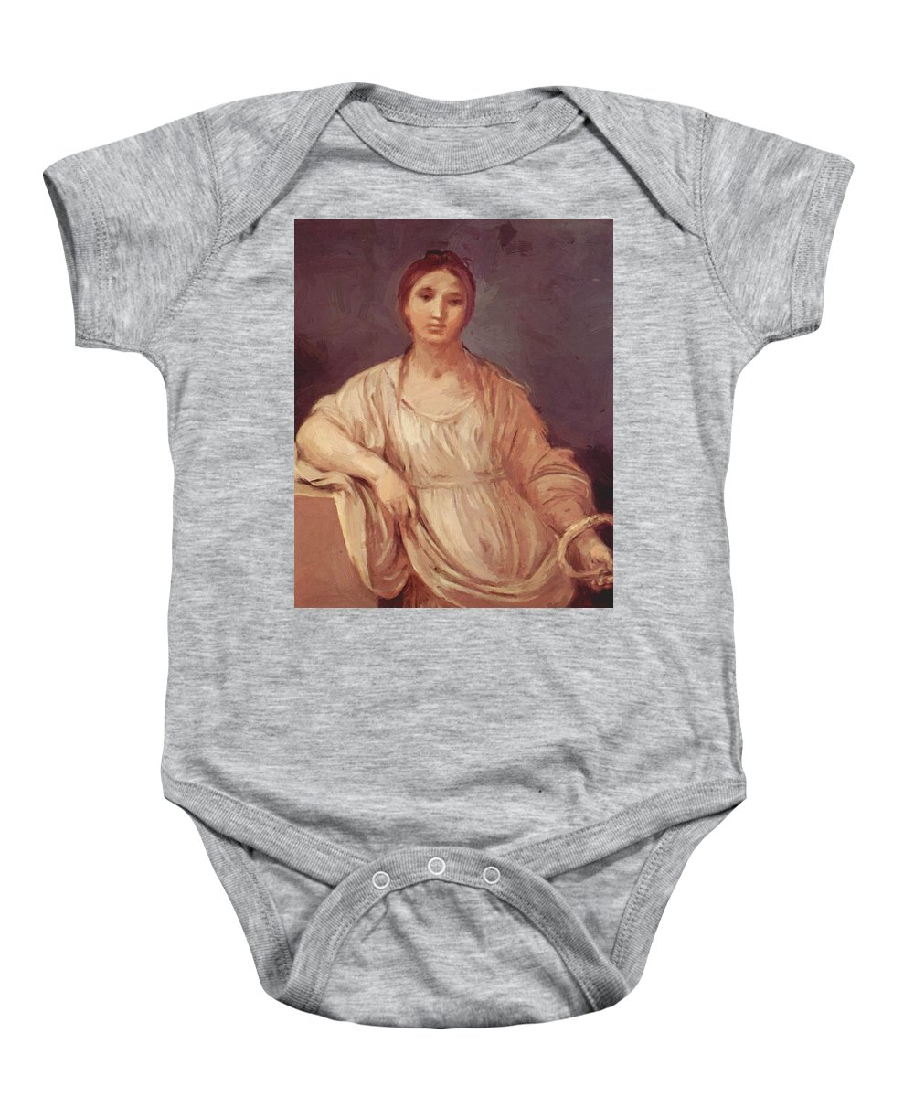 Portrait Baby Onesie featuring the painting Portrait Of A Girl With Crown 1642 by Reni Guido