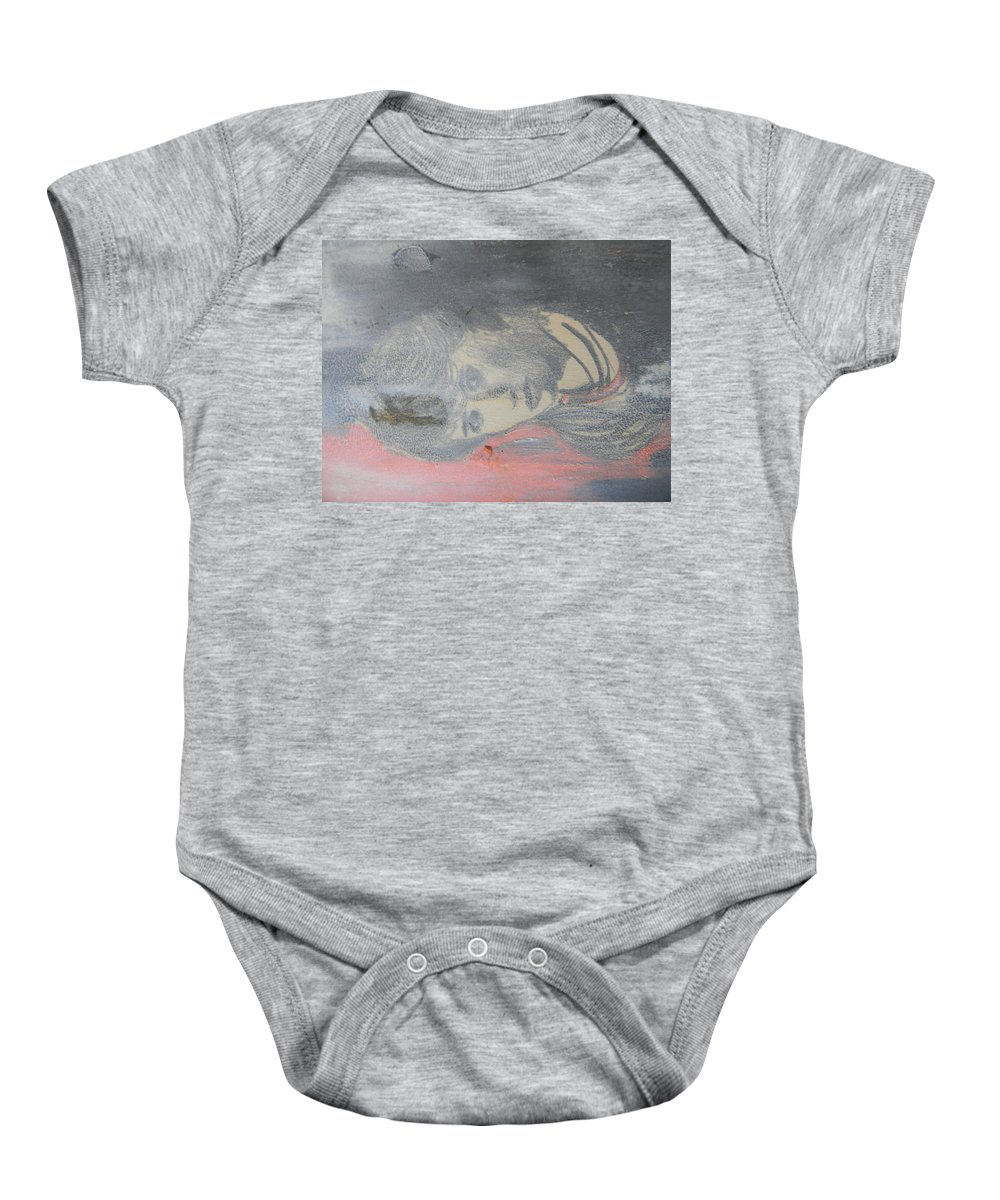 Portrait Baby Onesie featuring the drawing Portrait Of A Theatre Actress by Marwan George Khoury