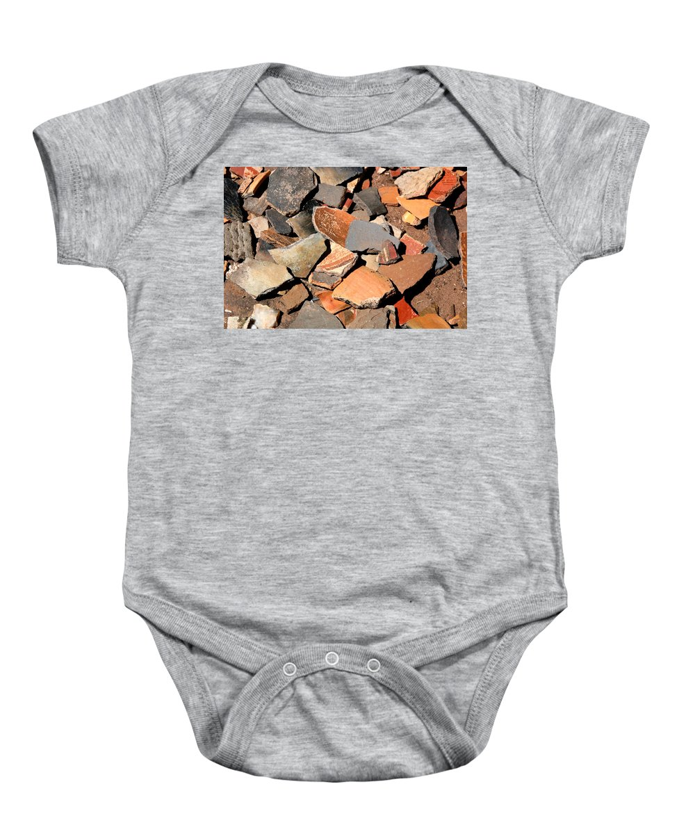 Native American Baby Onesie featuring the photograph Pot Shards by Joe Kozlowski