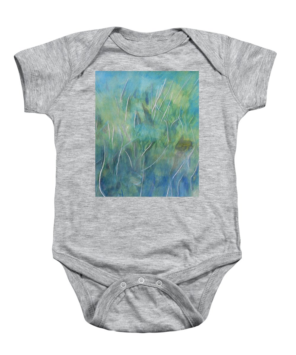 Watercolor Gouache Impressionist Expressionist Colorful Dreamy Soothing Calming Painting Paintings Grass Fields Baby Onesie featuring the painting Potential Field by Laura Joan Levine