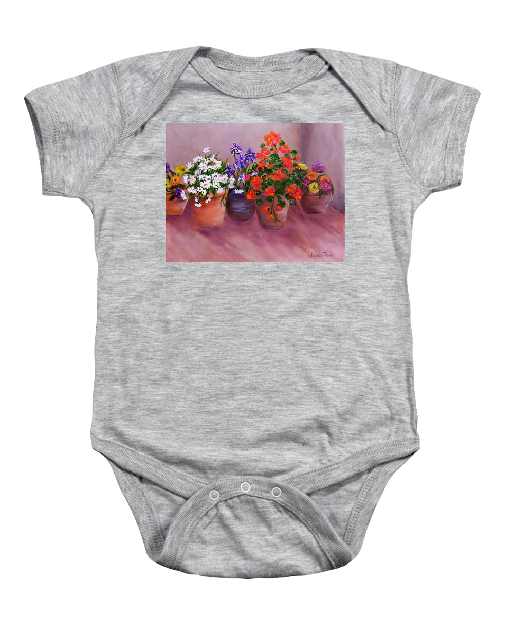 Flowers Baby Onesie featuring the painting Pots Of Flowers by Jamie Frier