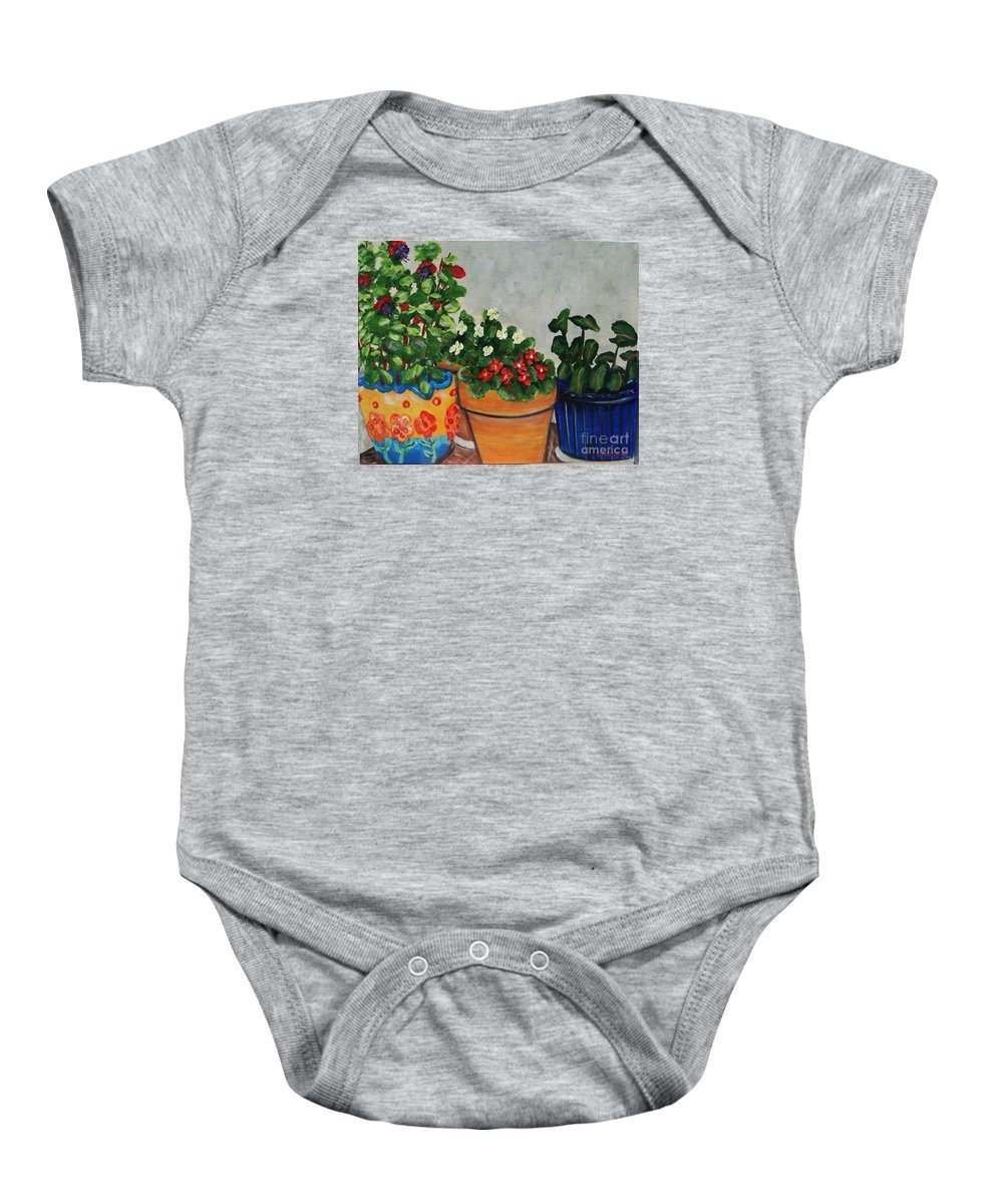 Ceramic Pots Baby Onesie featuring the painting Pots Showing Off by Laurie Morgan