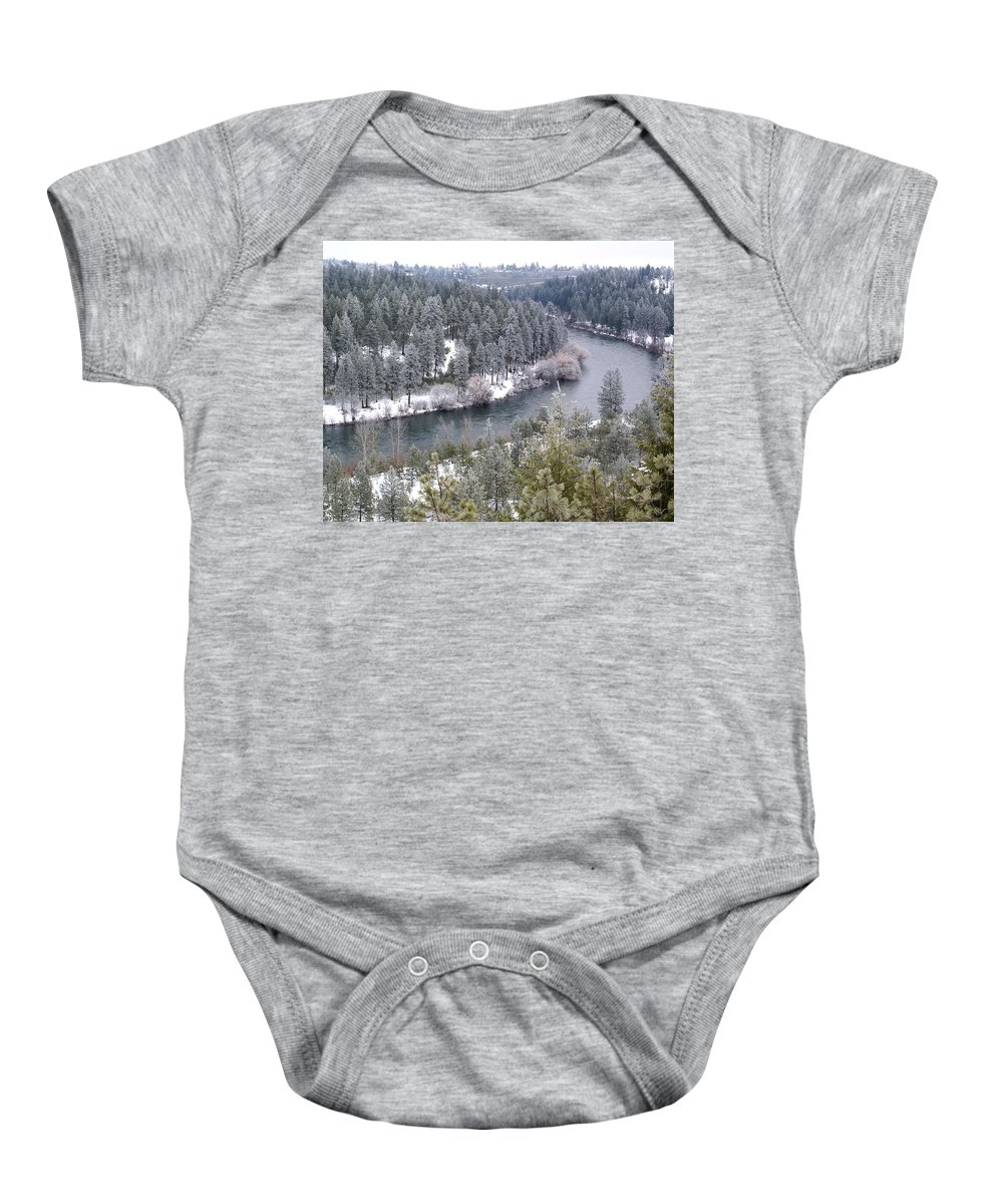 Nature Baby Onesie featuring the photograph Powdered Spokane River by Ben Upham III