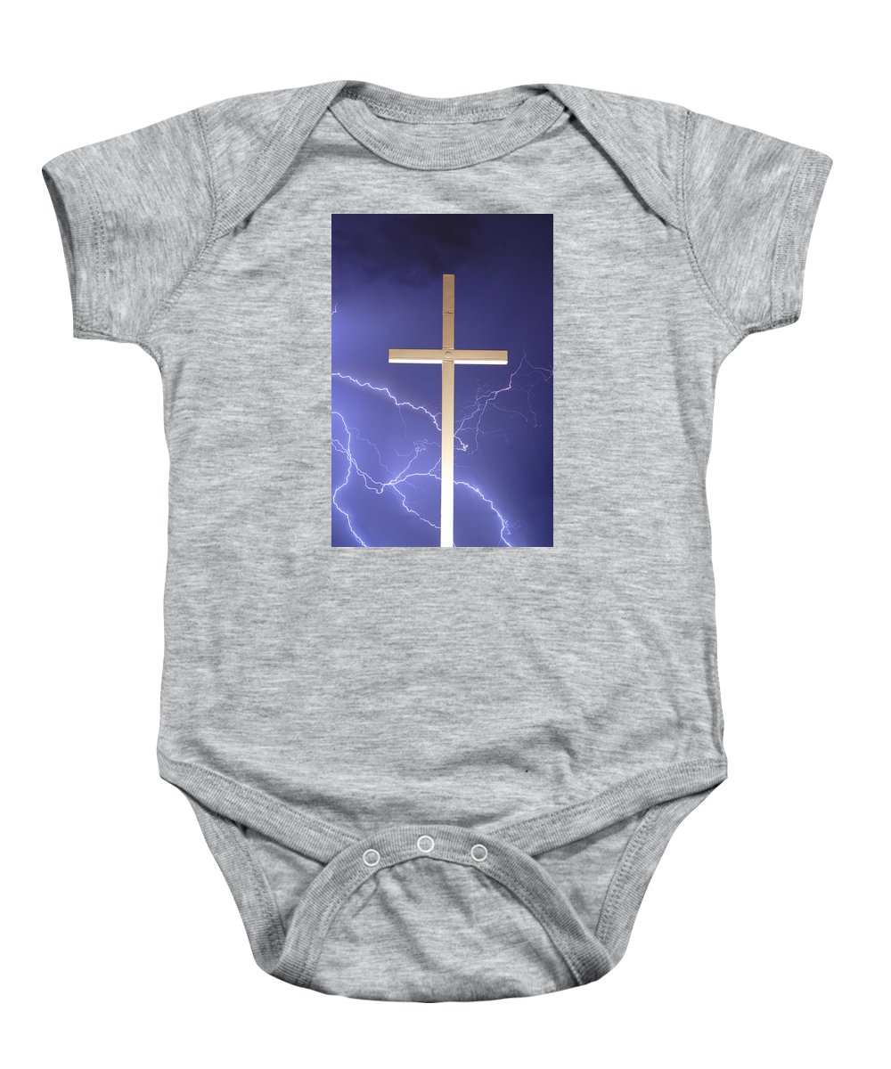 Lightning Baby Onesie featuring the photograph God Power by James BO Insogna