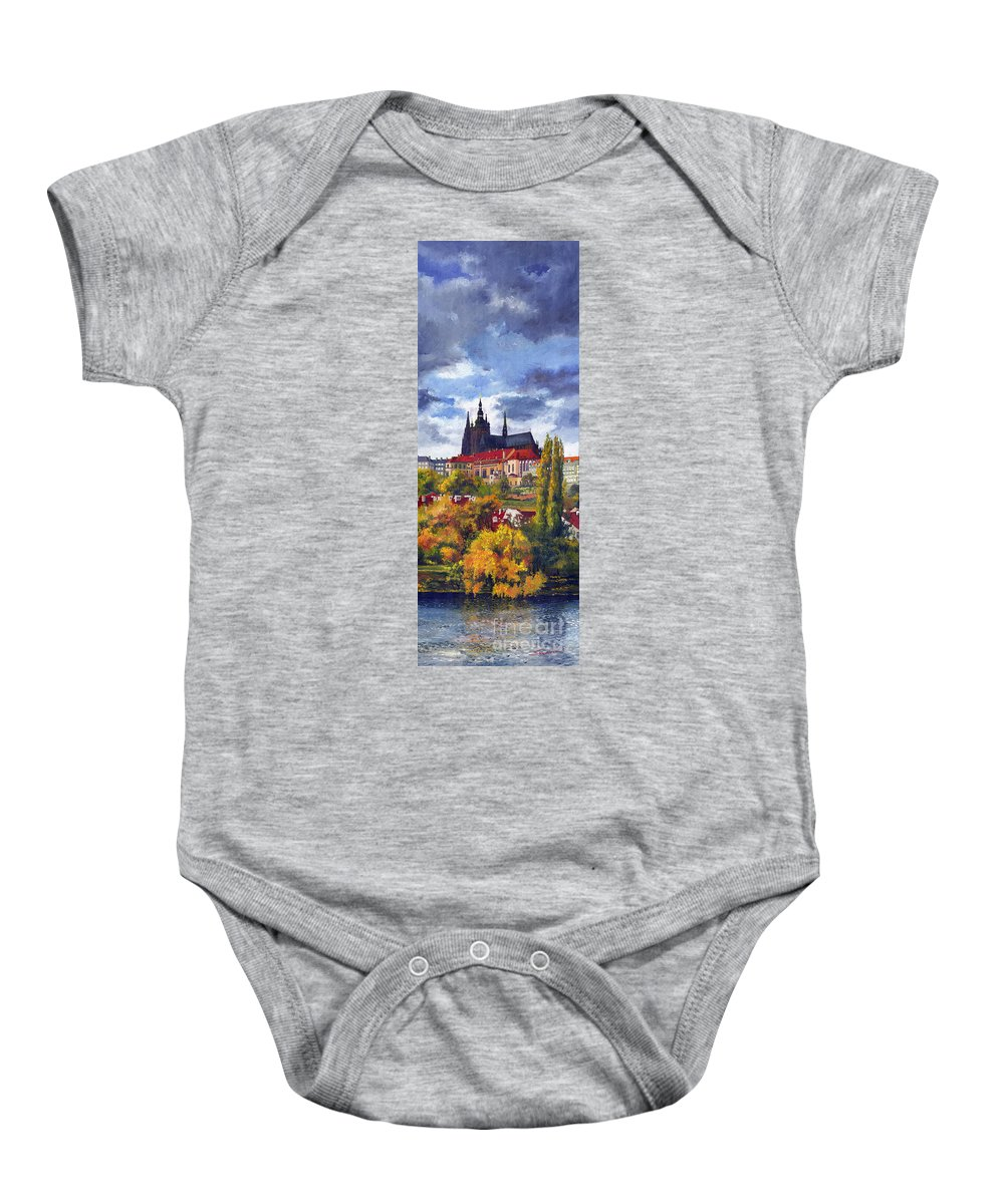Prague Baby Onesie featuring the painting Prague Castle With The Vltava River by Yuriy Shevchuk