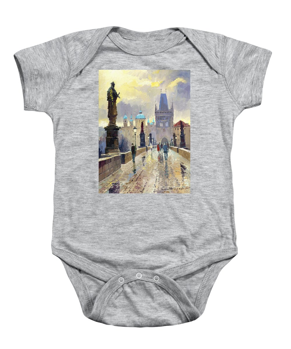Oil On Canvas Baby Onesie featuring the painting Prague Charles Bridge 02 by Yuriy Shevchuk