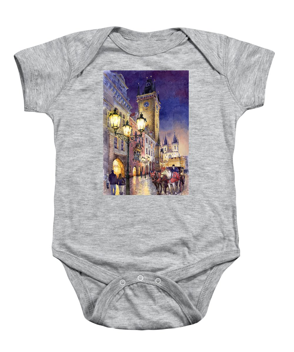 Cityscape Baby Onesie featuring the painting Prague Old Town Square 3 by Yuriy Shevchuk