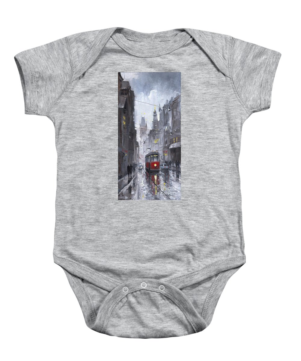 Oil On Canvas Baby Onesie featuring the painting Prague Old Tram 03 by Yuriy Shevchuk