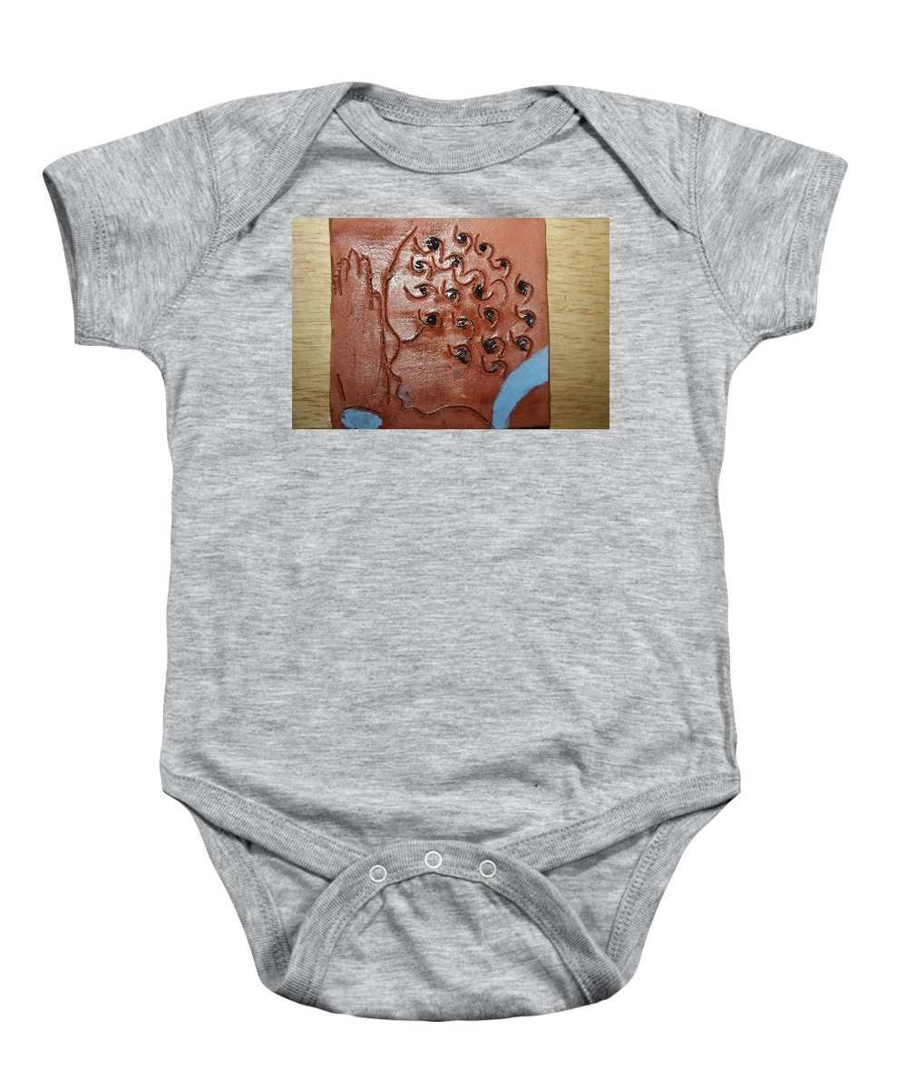 Jesus Baby Onesie featuring the ceramic art Prayer 35  - Tile by Gloria Ssali