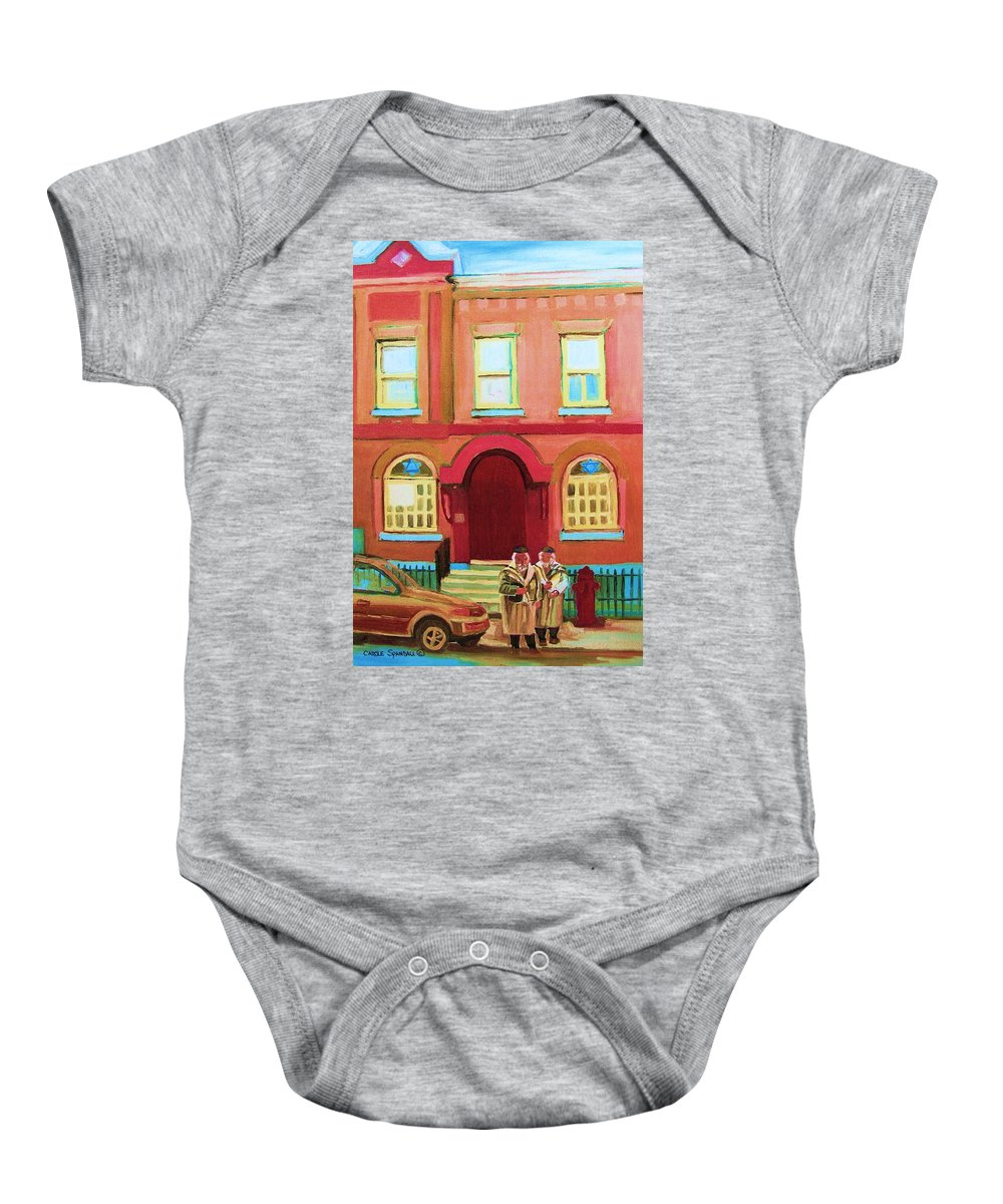 Bagg Street Synagogue Baby Onesie featuring the painting Prayer Shawls by Carole Spandau