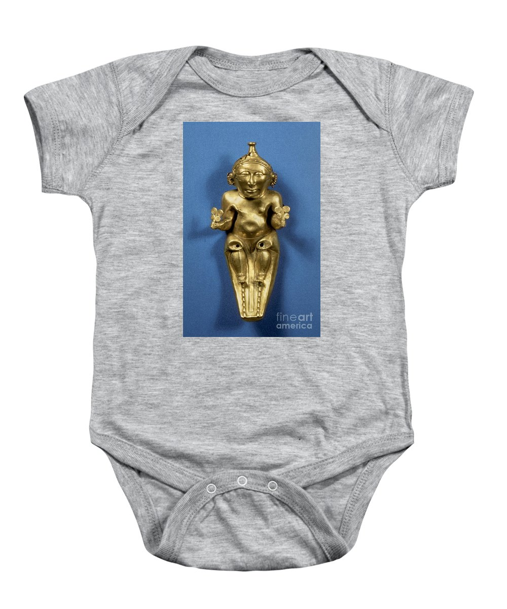 Artifact Baby Onesie featuring the photograph Pre-columbian Gold by Granger