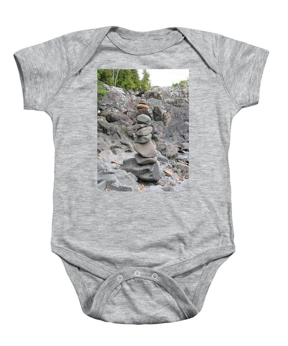 Stones Baby Onesie featuring the photograph Precarious by Kelly Mezzapelle