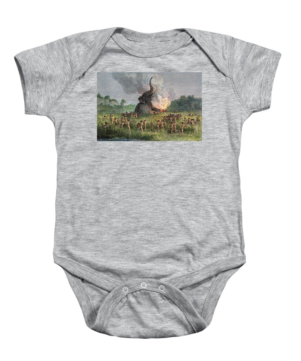 Ancient Baby Onesie featuring the photograph Prehistoric Mammoth Hunt by Granger