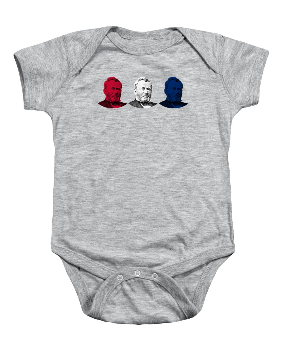 Us Grant Baby Onesie featuring the digital art President Grant Red White And Blue by War Is Hell Store