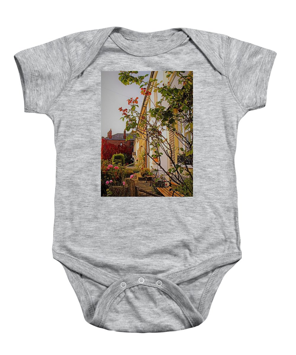 Landscape Baby Onesie featuring the photograph Pretty English Cottage by Loretta S