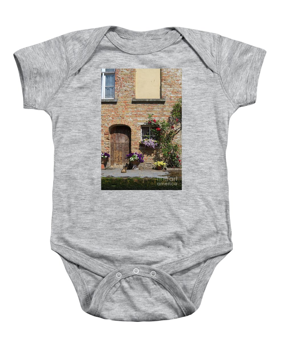 Pretty Baby Onesie featuring the photograph Pretty Terrace Beside The Groenerei Canal In Bruges Belgium by Louise Heusinkveld