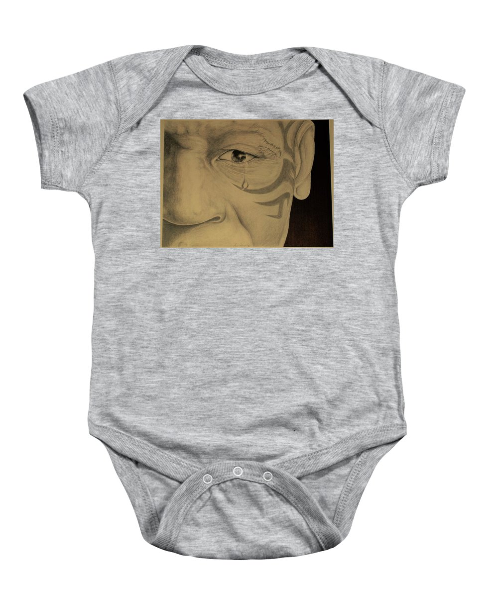Portrait Baby Onesie featuring the drawing Pride And Sorrow by Aaron Rupe