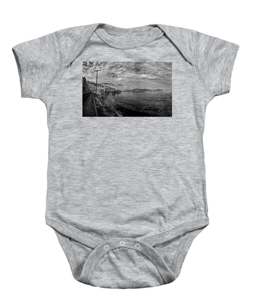B&w Baby Onesie featuring the photograph Priest River Panorama 2 by Lee Santa