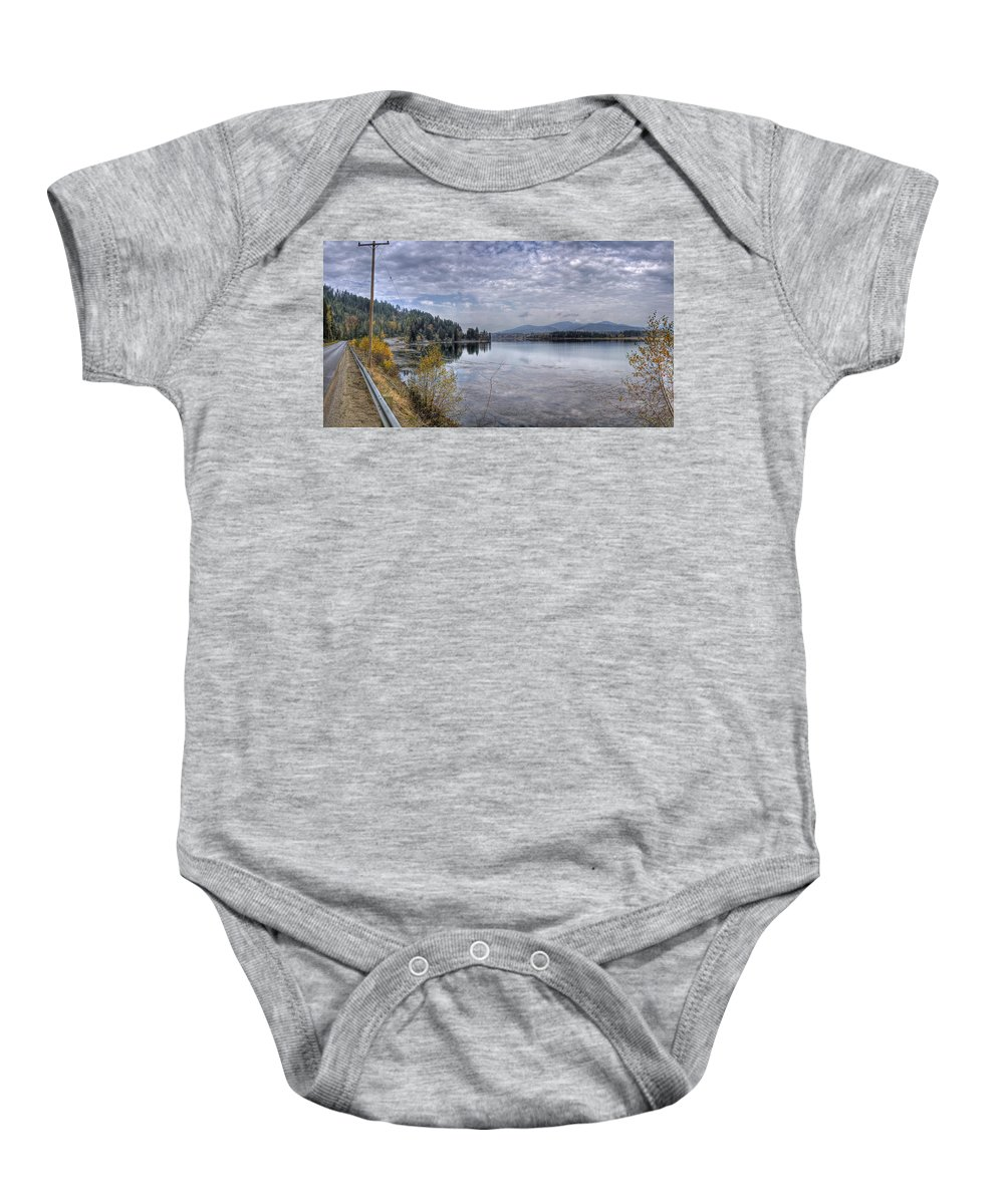Baby Onesie featuring the photograph Priest River Panorama 8 by Lee Santa