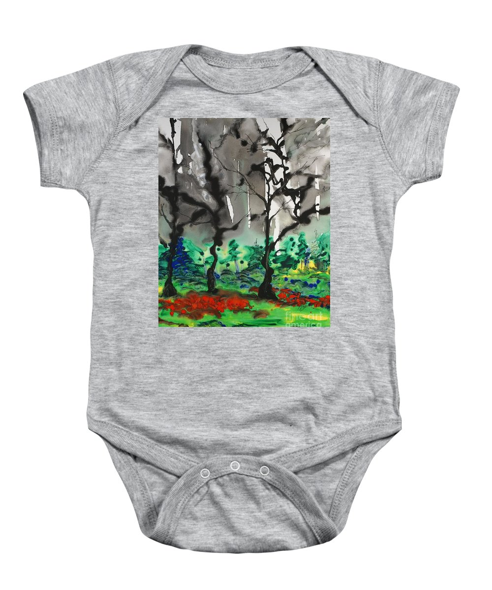 Forest Baby Onesie featuring the painting Primary Forest by Nadine Rippelmeyer