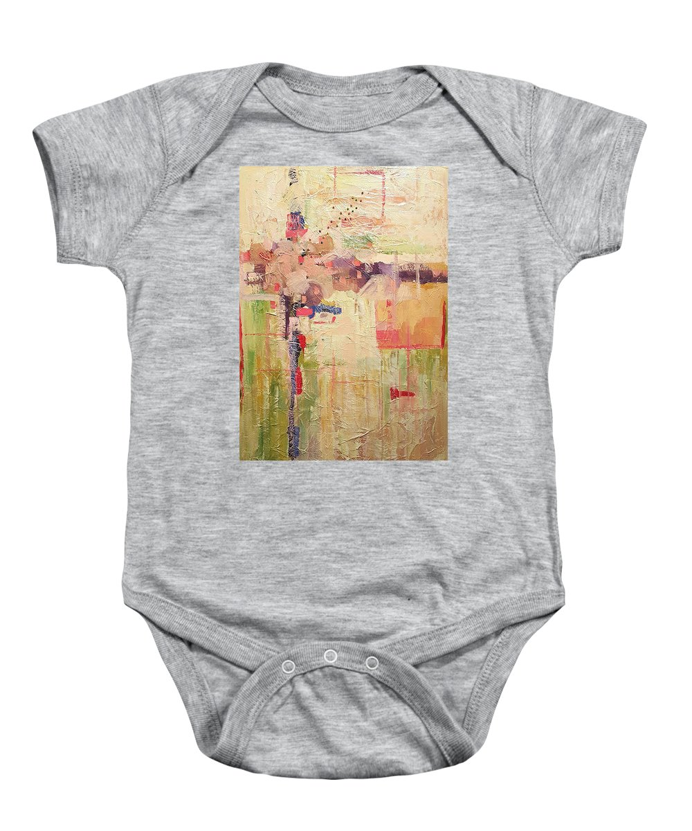 Mixed Media Abstracts Baby Onesie featuring the painting Primavera by Ginger Concepcion