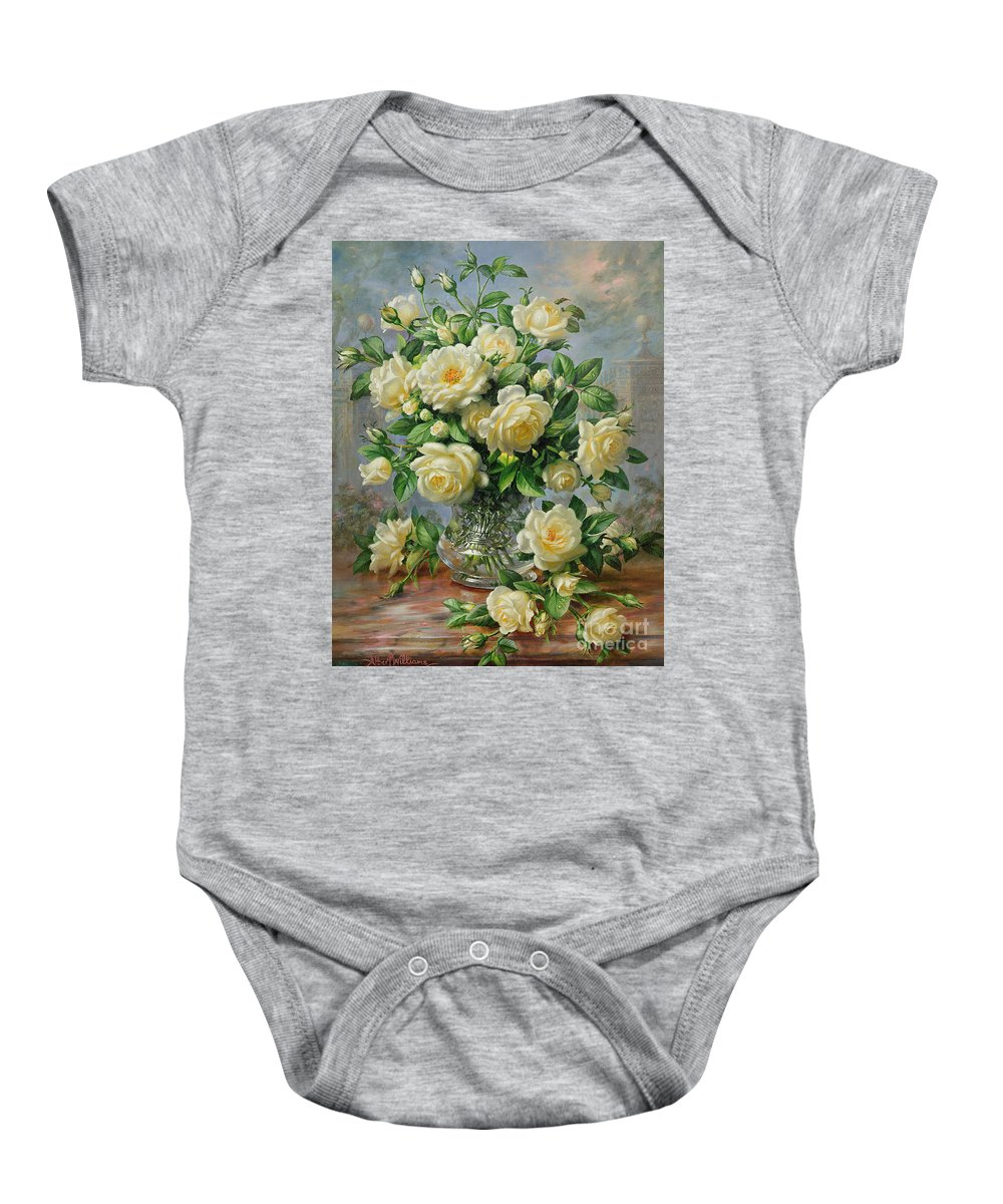 In Honour Of Lady Diana Spencer (1961-97); Still Life; Flower; Rose; Arrangement; Princess Of Wales (1981-96); Homage; Yellow; Flowers; Leafs Baby Onesie featuring the painting Princess Diana Roses In A Cut Glass Vase by Albert Williams