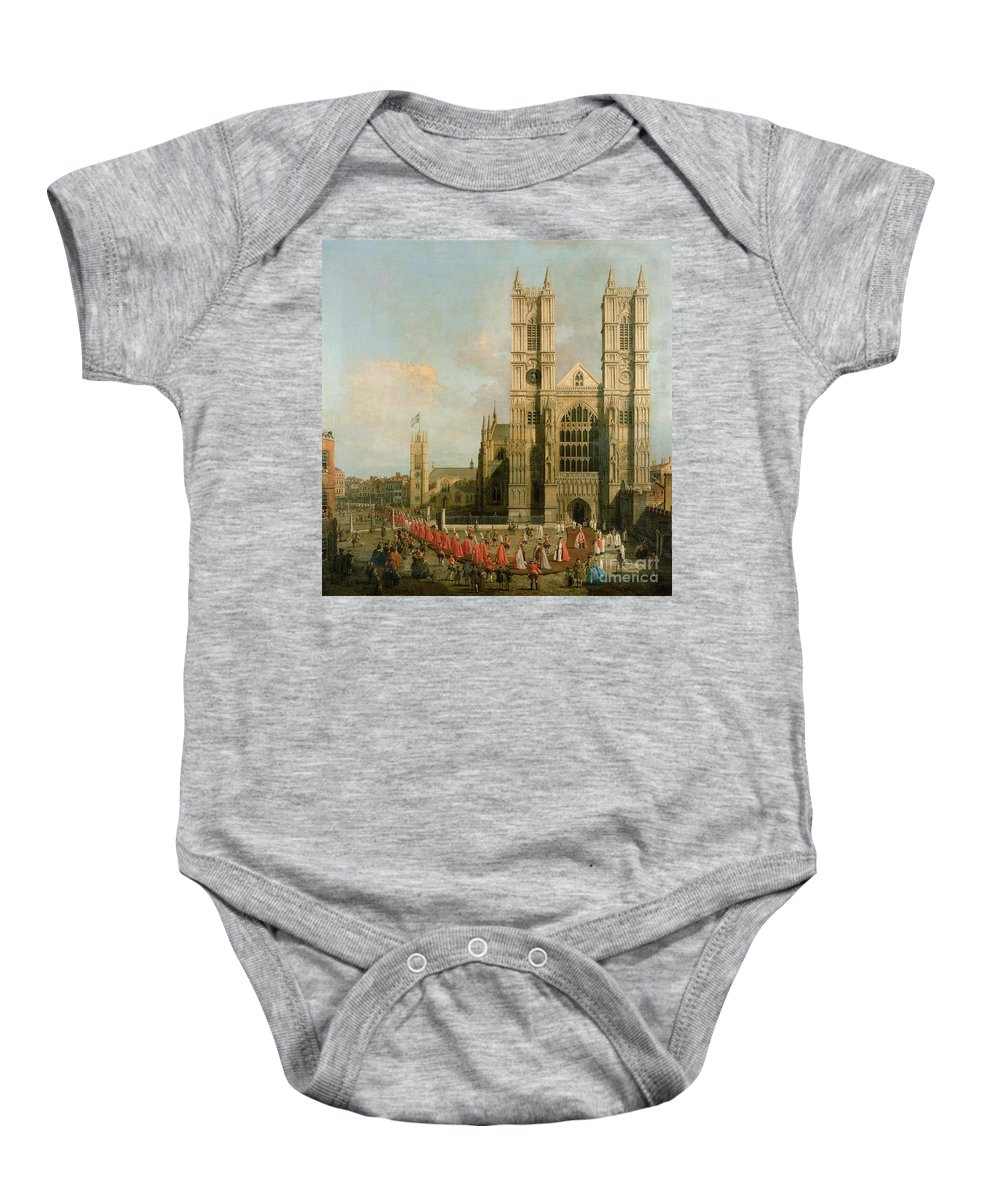Canaletto Baby Onesie featuring the painting Procession Of The Knights Of The Bath by Canaletto