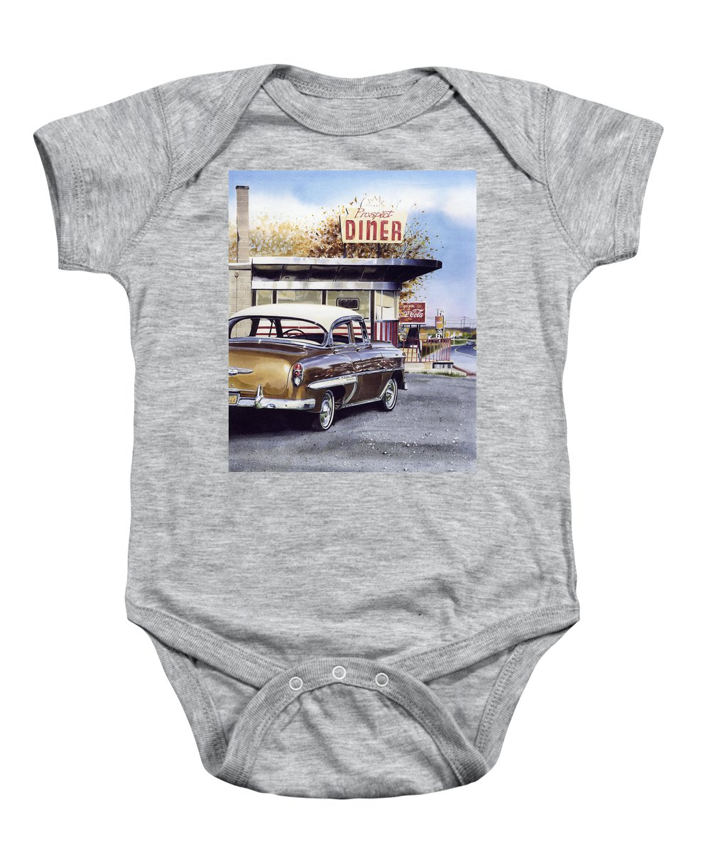 Diner Baby Onesie featuring the painting Prospect Diner by Denny Bond