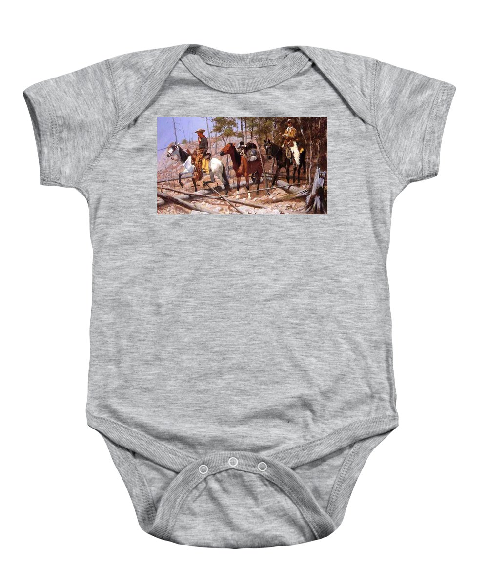 Prospecting Baby Onesie featuring the painting Prospecting For Cattle Range 1889 by Remington Frederic