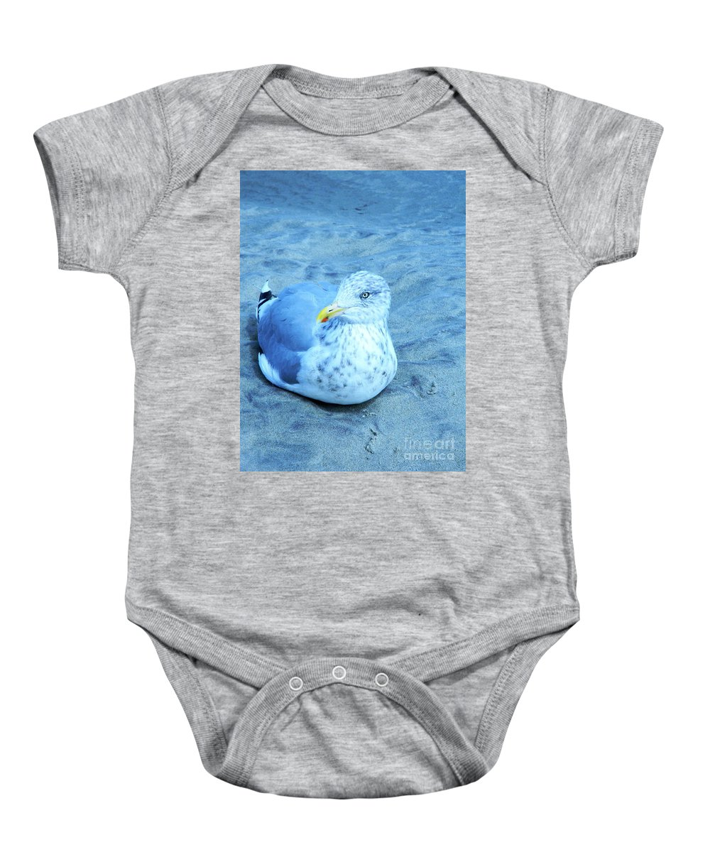 Seagull Contentedly Sitting On The Beach Baby Onesie featuring the digital art Proud Bird by Expressionistart studio Priscilla Batzell
