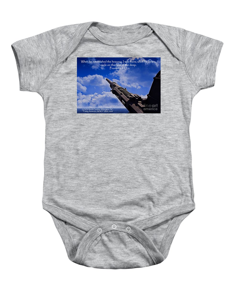 Scripture Baby Onesie featuring the photograph Proverbs 8-27 by Tommy Anderson