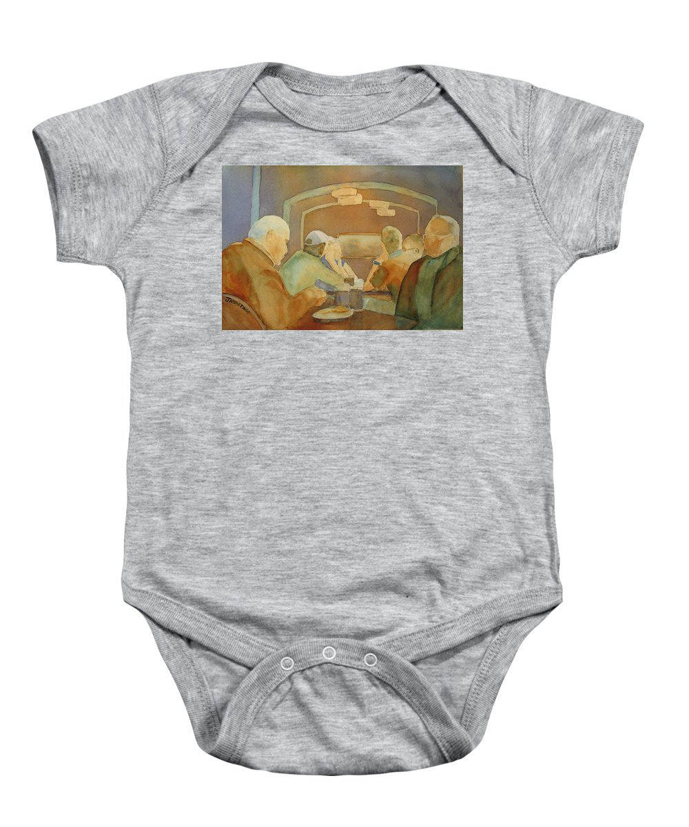 Men Baby Onesie featuring the painting Pub Talk II by Jenny Armitage