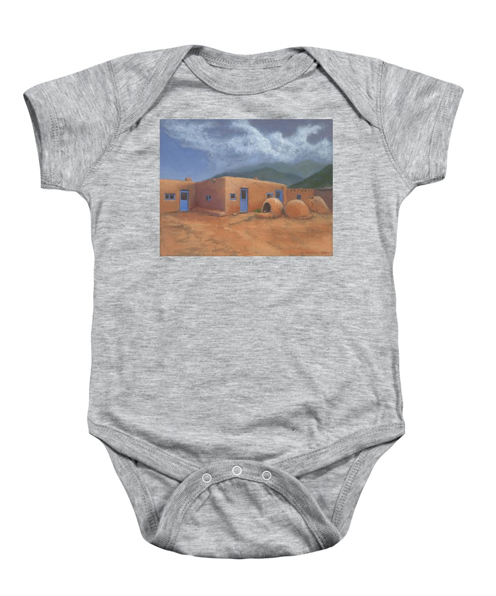 Taos Baby Onesie featuring the painting Puertas Azul by Jerry McElroy