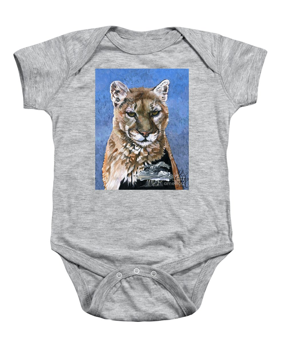 Puma Baby Onesie featuring the painting Puma - The Hunter by J W Baker