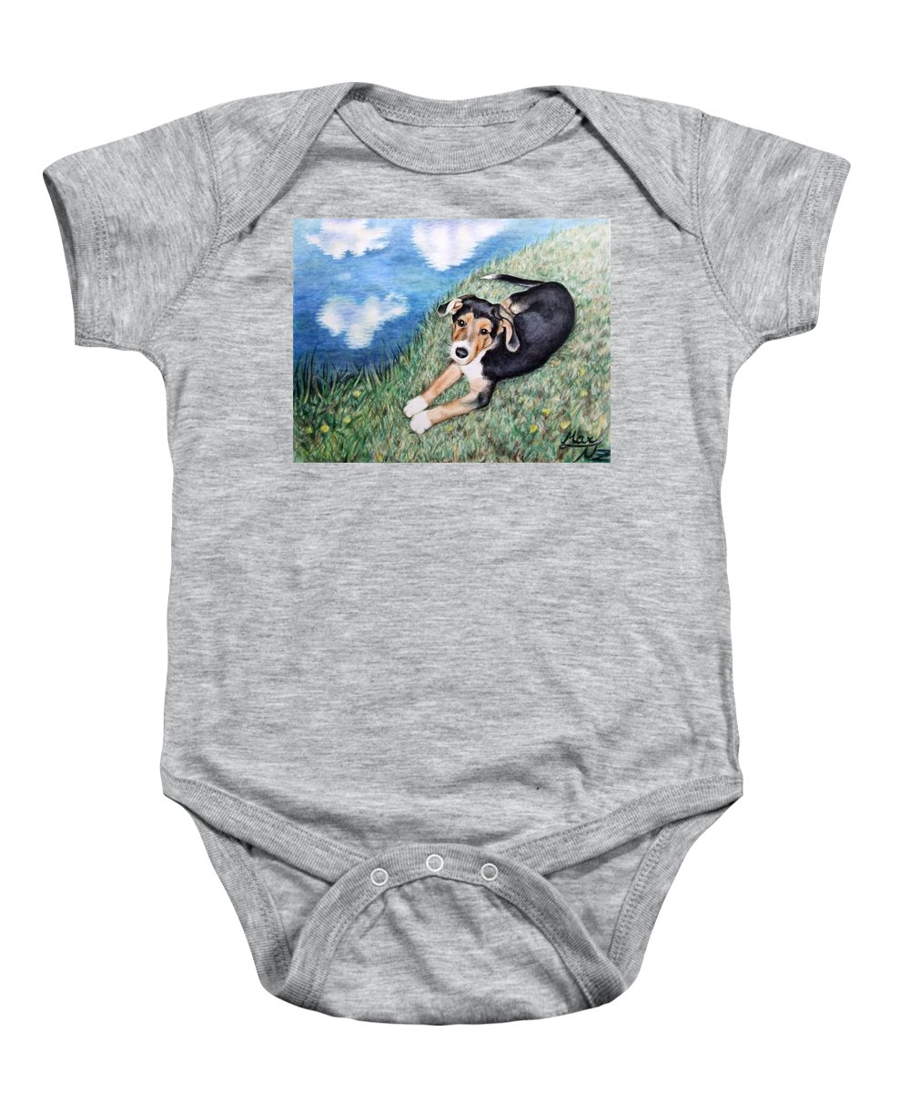 Dog Baby Onesie featuring the painting Puppy Max by Nicole Zeug