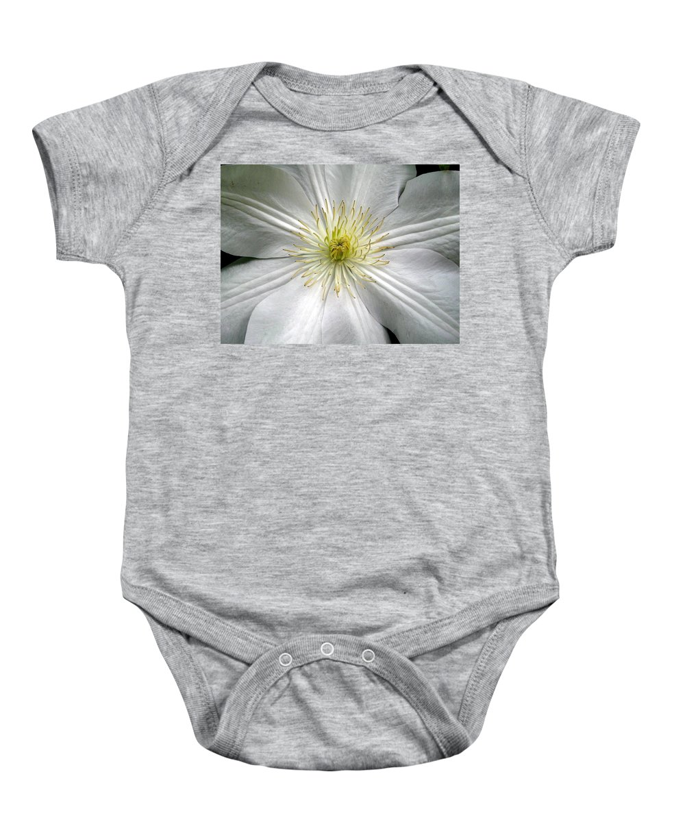 Clematis Baby Onesie featuring the photograph Purity by Marla McFall