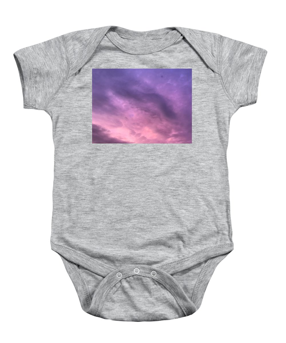 Sky Clouds Purple Baby Onesie featuring the photograph Purpl Sky by Lee Barrett