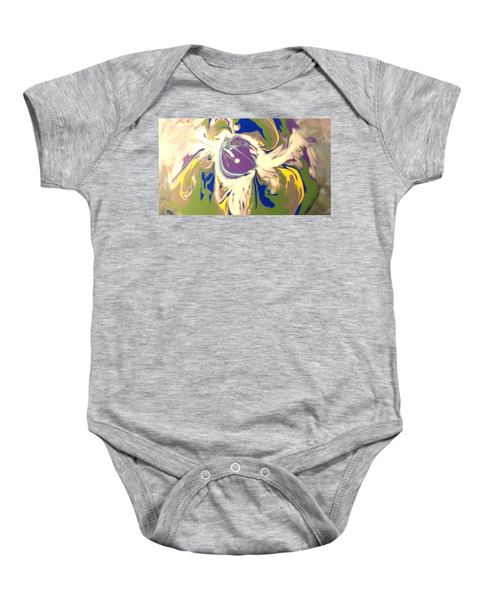 Abstracts Baby Onesie featuring the painting Purple Calla Lilly by C Maria Wall