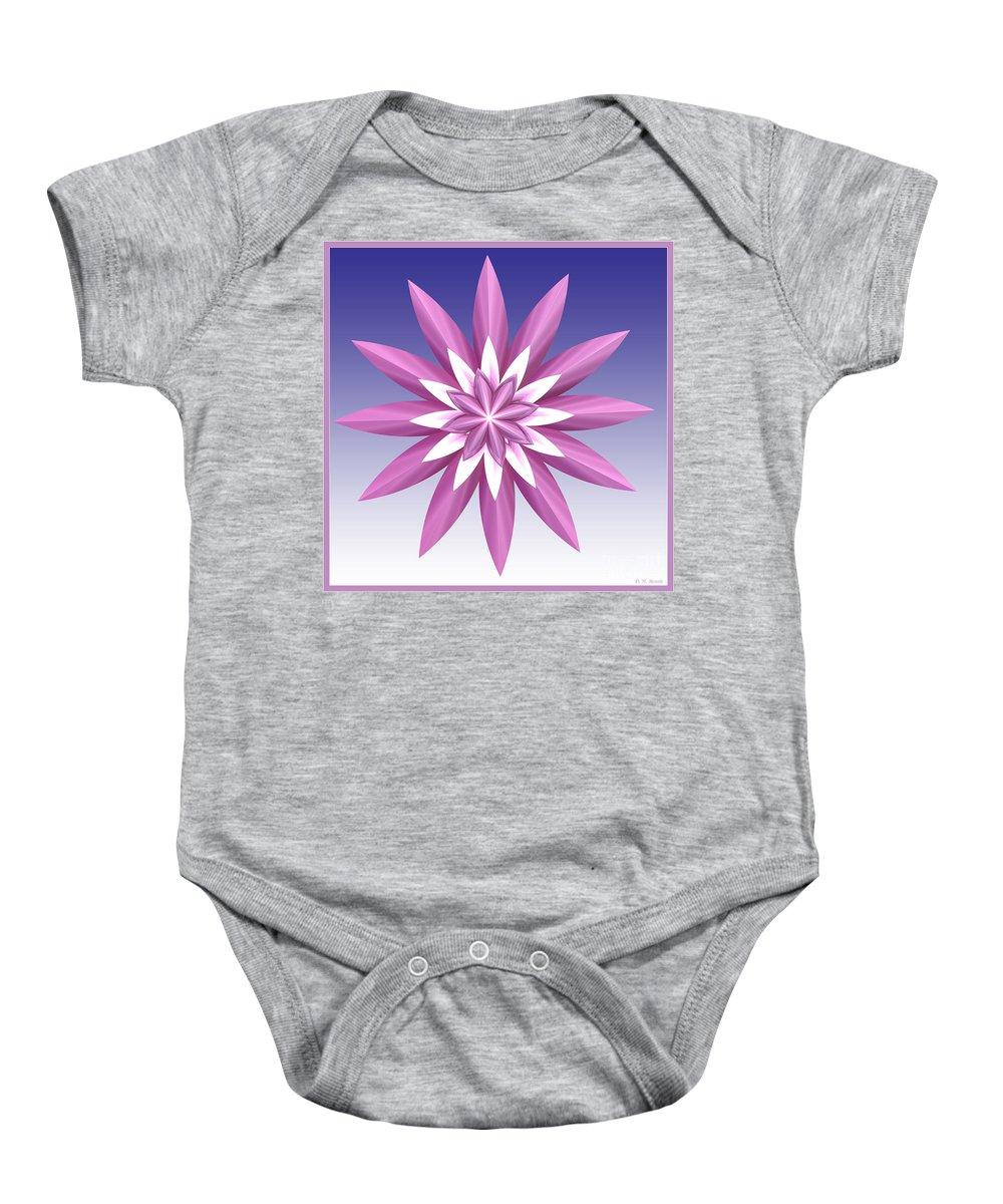 Fractal Baby Onesie featuring the digital art Purple Flower by Deborah Benoit