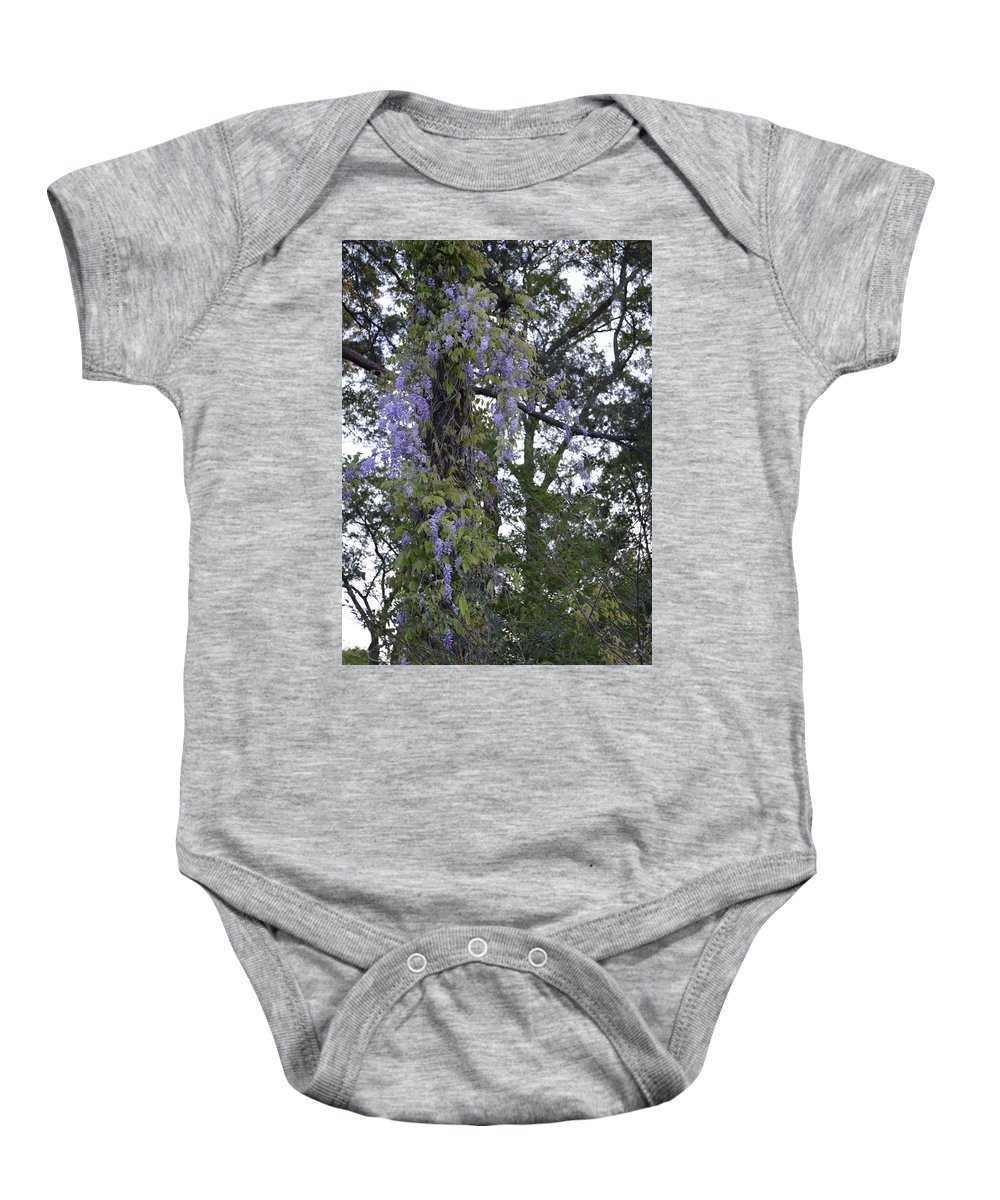 Trees Baby Onesie featuring the photograph Purple In The Trees by Lynn Jung