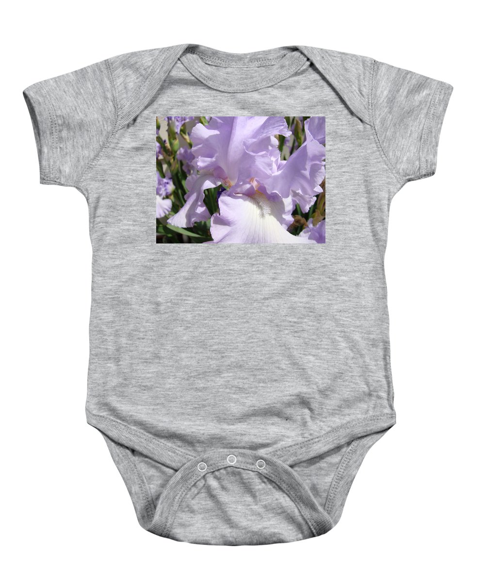 �irises Artwork� Baby Onesie featuring the photograph Purple Irises Artwork Lavender Iris Flowers 13 Botanical Floral Art Baslee Troutman by Baslee Troutman