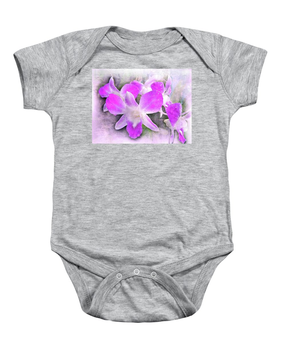 Orchids Baby Onesie featuring the photograph Purple Orchids by Judi Saunders