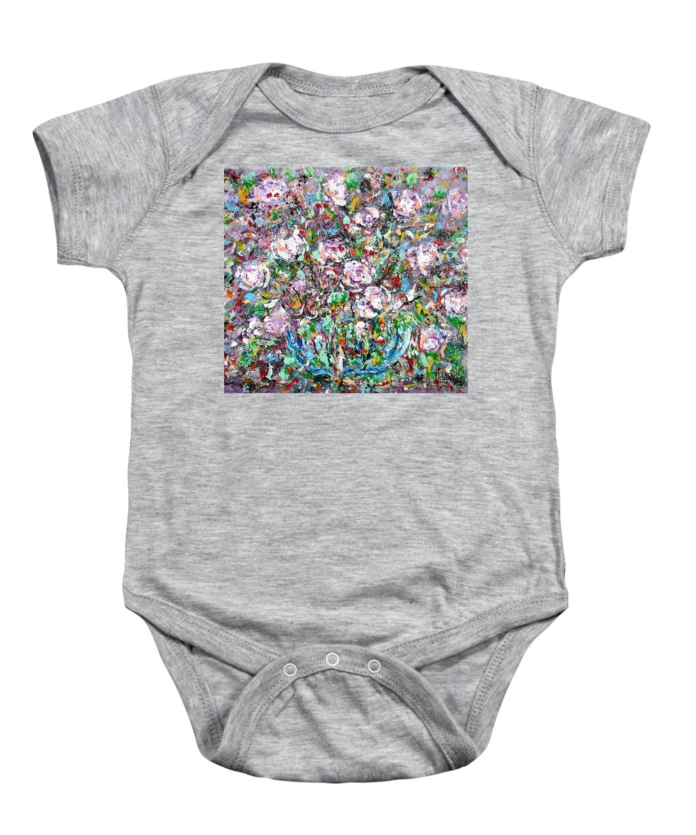 Abstract Baby Onesie featuring the painting Purple Passions by Natalie Holland
