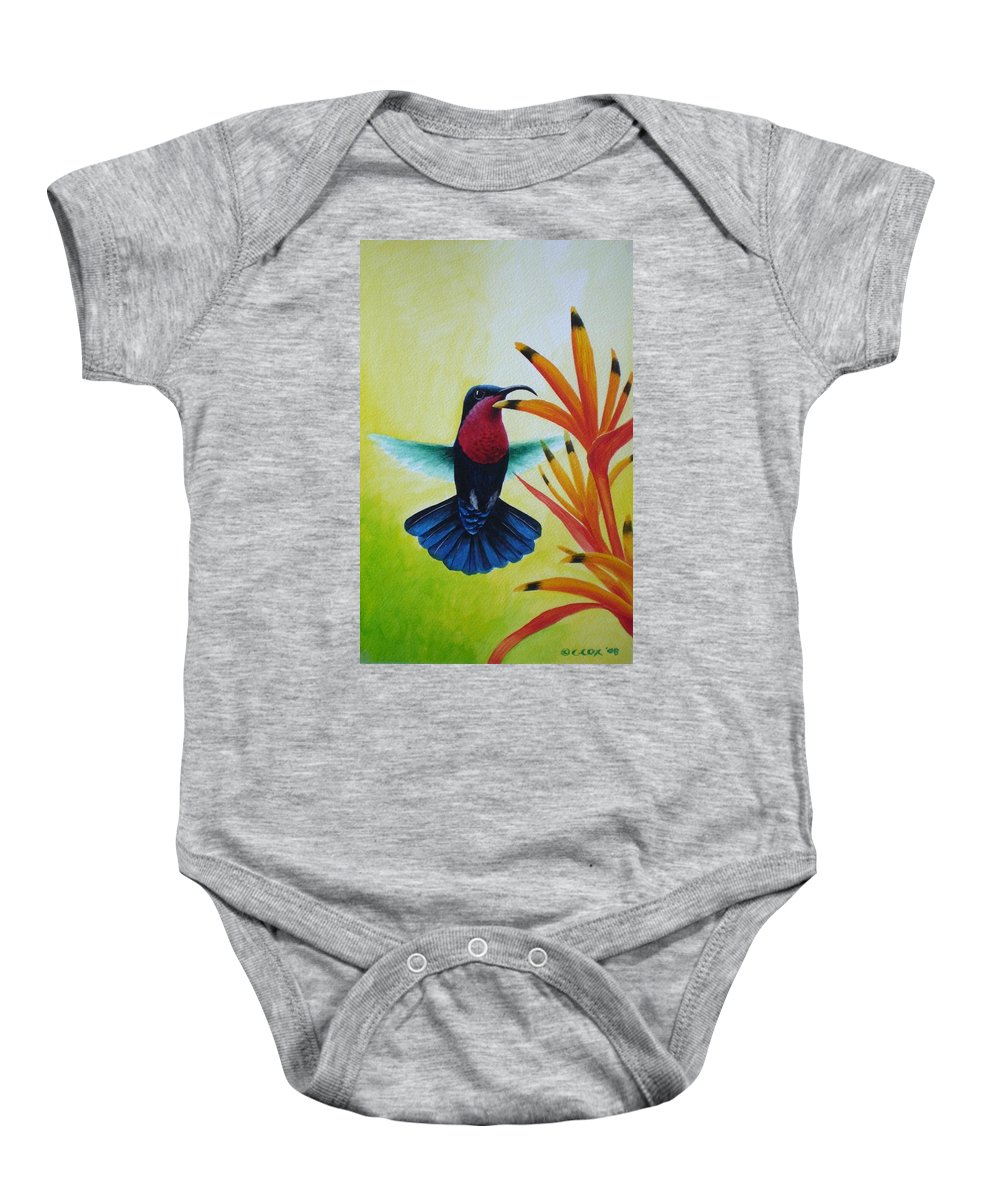 Purple-throated Carib Baby Onesie featuring the painting Purple-throated Carib And Bird Of Paradise by Christopher Cox