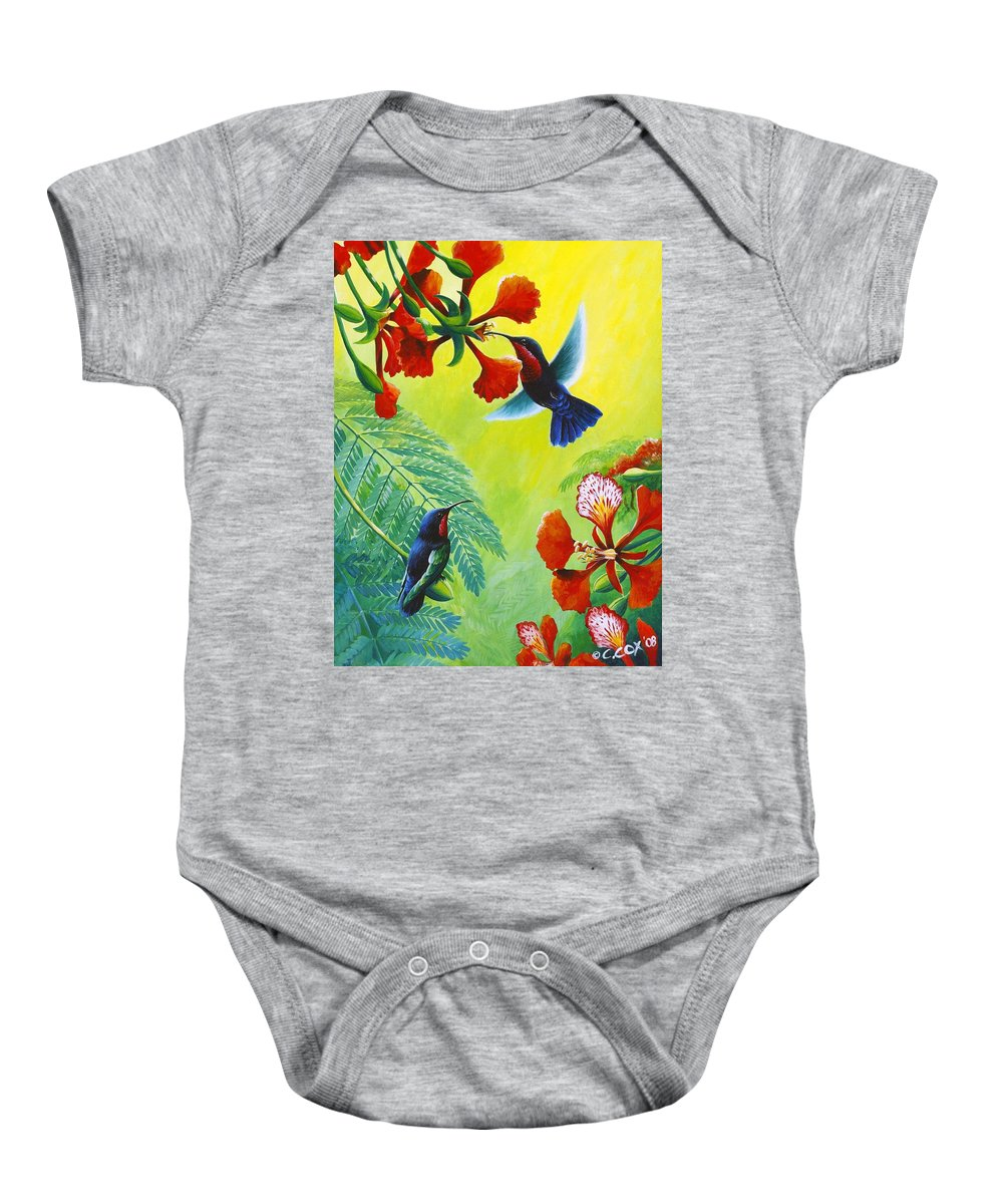 Chris Cox Baby Onesie featuring the painting Purple-throated Caribs And Flamboyant by Christopher Cox