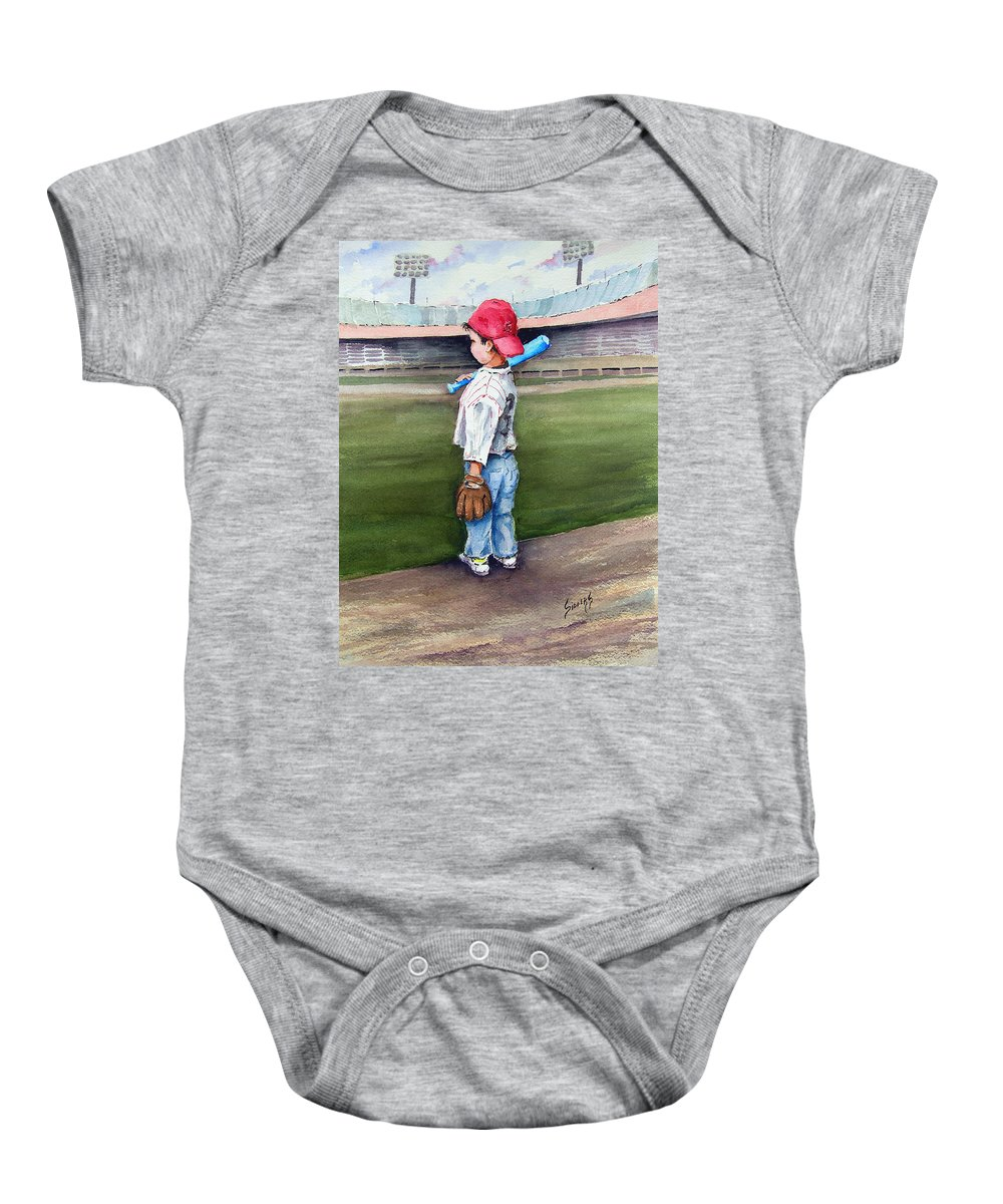 Baseball Baby Onesie featuring the painting Put Me In Coach by Sam Sidders